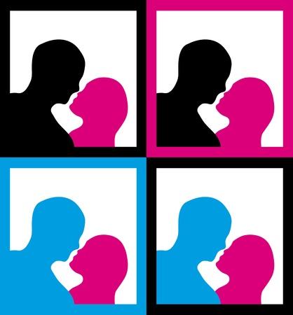 innamorati che si baciano: Set di incorniciate sagome maschili e femminili in un bacio posa.
