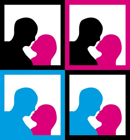 Set of framed male and female silhouettes in a kissing pose. Vector