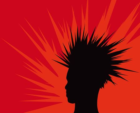 Illustration of a man with spiky hair or a mohawk. Vector