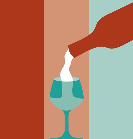 vino: Vector llustration of liquid pouring from bottle.
