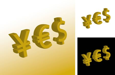 denominational: 3d illustration of currency yes signs formed from yen, dollar and euro symbols
