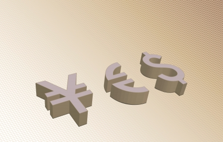 denominational: Abstract currency yes sign made from Yen, Euro and dollar currency symbols,