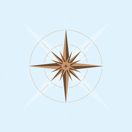 navigational light: Illustration of abstract compass design with light blue background