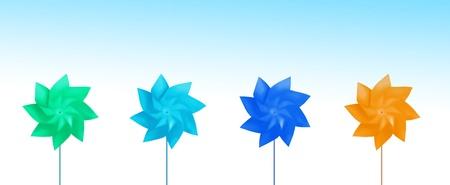 pinwheels: Row of colorful pinwheels  Stock Photo