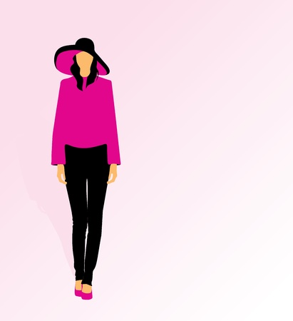 woman wearing hat: Vector illustration of a woman wearing a big hat and fancy clothes  Illustration