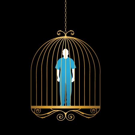 convict: Conceptual illustration of man trapped in golden bird cage.