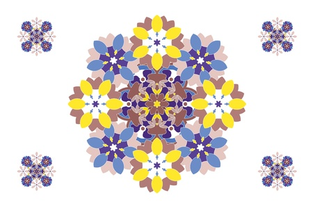 yellowish: Decorative, artistic and intricate designs in symmetrical patterns. Illustration