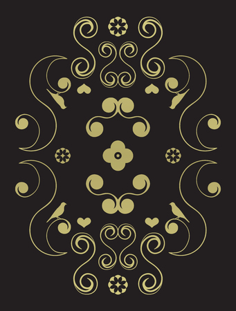 Decorative swirl symmetrical design on black background. Vector