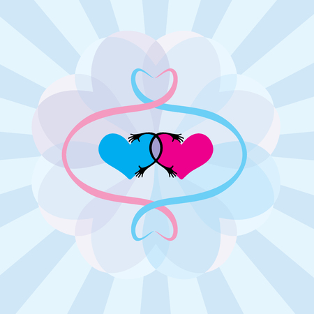 Two hearts connected Vector