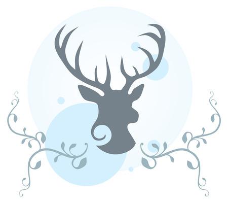 Decorative illustration of deer head, vines and circles  Illustration