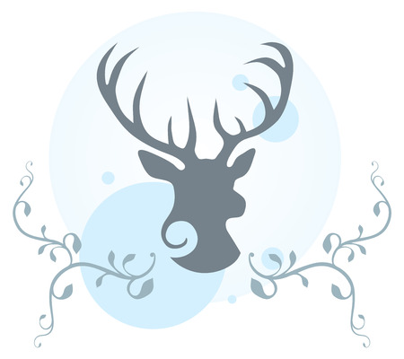 Decorative illustration of deer head, vines and circles  Vector