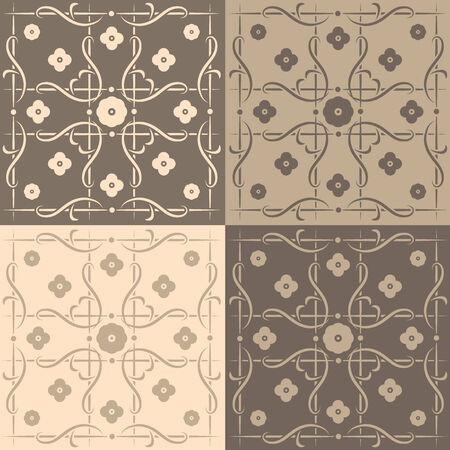 brownish: Beige and brown square tiles with an artistic, abstract design