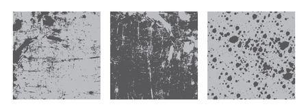 spot the difference: Black and white illustrated set of three different ink stain grunge backgrounds