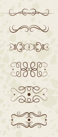 Illustrated set of different decorative antique borders