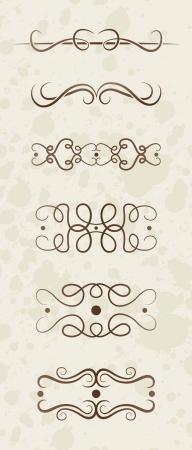 curving: Illustrated set of different decorative antique borders