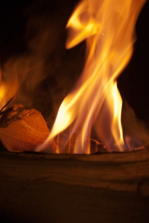 incendiary: Close-up of wood burning in flames