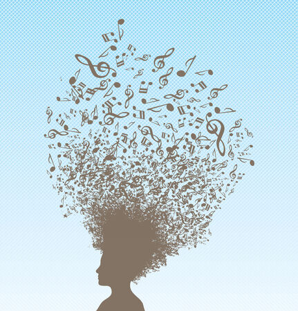 A conceptual vector illustration with person and musical notes on her hair. Vector
