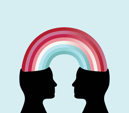shared sharing: Profile silhouette of two heads connected by a rainbow