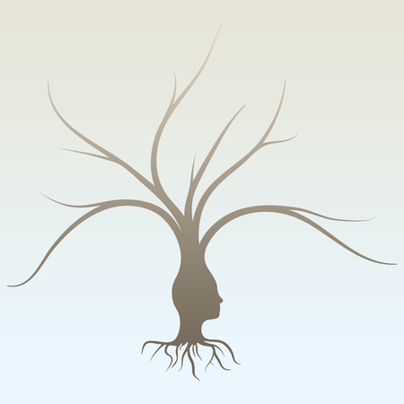 A conceptual illustration of a human head with roots and branches of a tree  Illustration