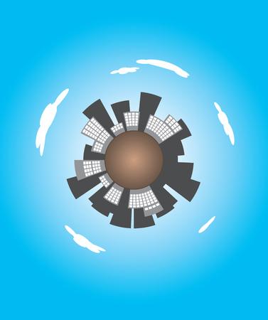 circundante: Ilustra��o conceptual de arranha-c�us que rodeiam o planeta terra com um fundo azul