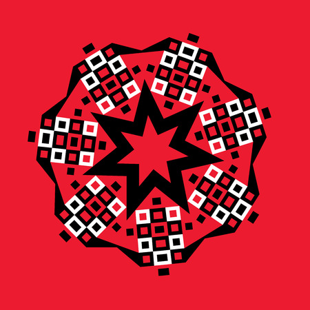 heptagon: Graphic design of a geometric starburst heptagon design in black and white on red