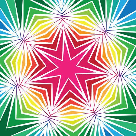 radiating: Dise�o geom�trico estrella caras siete con l�neas que irradian y colores brillantes. Vectores