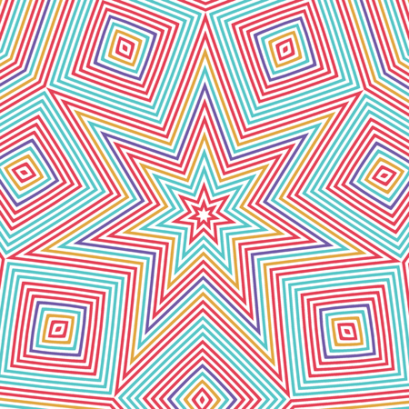 concentric: A vector background with colorful concentric squares and stars.