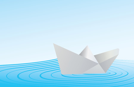 floating on water: Illustration of a folded paper boat floating on blue water.