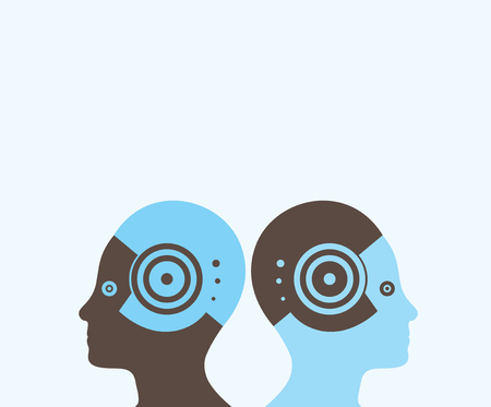 inverted: illustration with two people with opposite sides and inverted colors between them.