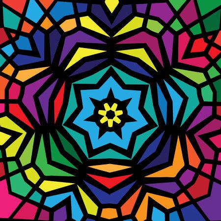 radiating: Dise�o del vitral colorido que irradia de una estrella central.