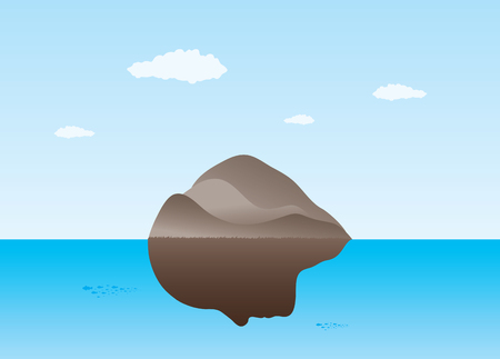 facial features: An illustration of an island in sea with facial features.