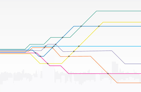 Illustration of colorful subway lines.