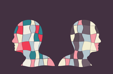 Colourful vector illustration with two people with opposite sides.