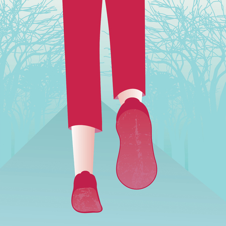 pale green: Closeup illustration of legs and feet in red sportswear running along a path through a pale green forest.