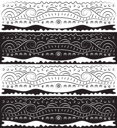 reverse: Series of black and white scroll borders in reverse. Illustration