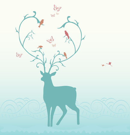 ornamented: Vector illustration of deer, ornamented with birds and butterflies.