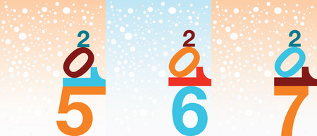 two thousand: Illustrated set of different New Year snowfall backgrounds.
