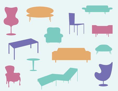 furniture: Illustrated set of different colored home furniture icons.