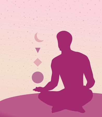 meditation man: Man in meditation pose. Vector illustration.