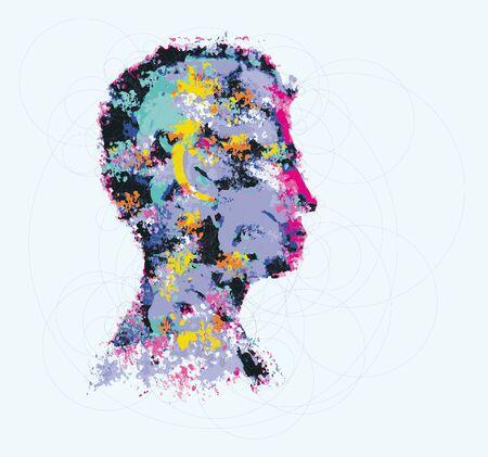 artsy: Colourful illustration of human head silhouette