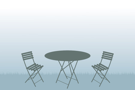 lawn chair: Garden table and chairs vector illustration.