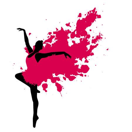 빨간색 페인트 드레스 발레 댄서 흰색 배경에 고립 일러스트
