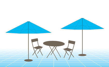 patio furniture: Vector illustration of outdoor table, chairs and umbrellas. Illustration