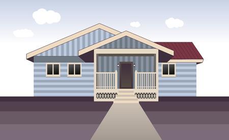 an exterior: House exterior. Entrance porch view. Vector illustration.
