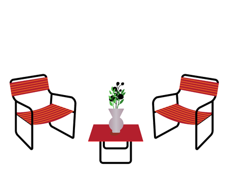 outdoor seating: Red table and chairs with flower vase isolated on white background.