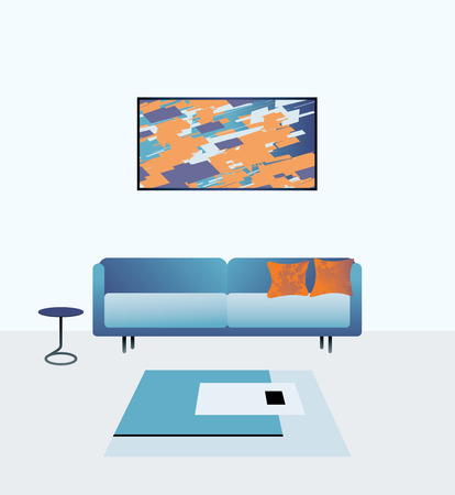 unoccupied: Vector illustration of modern living room.