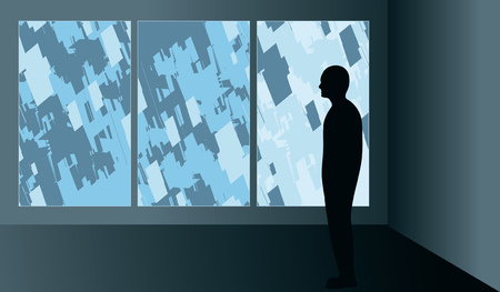 Silhouetted man looking at an abstract modern triptych illustration in an art gallery.