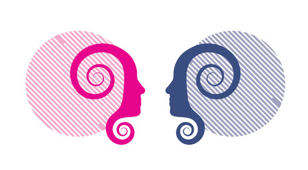 two people meeting: Vector illustration of pink and blue human profiles.