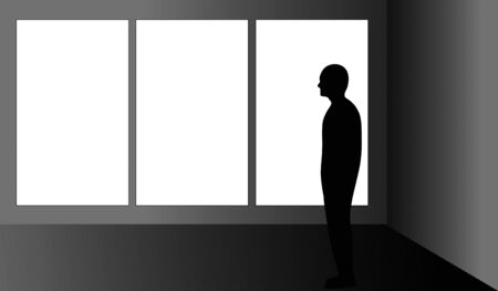 admiring: Man looking at a blank triptych in an art gallery.