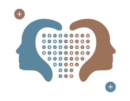 shared sharing: Vector illustration of human heads, profiles face opposite ways isolated on white background.